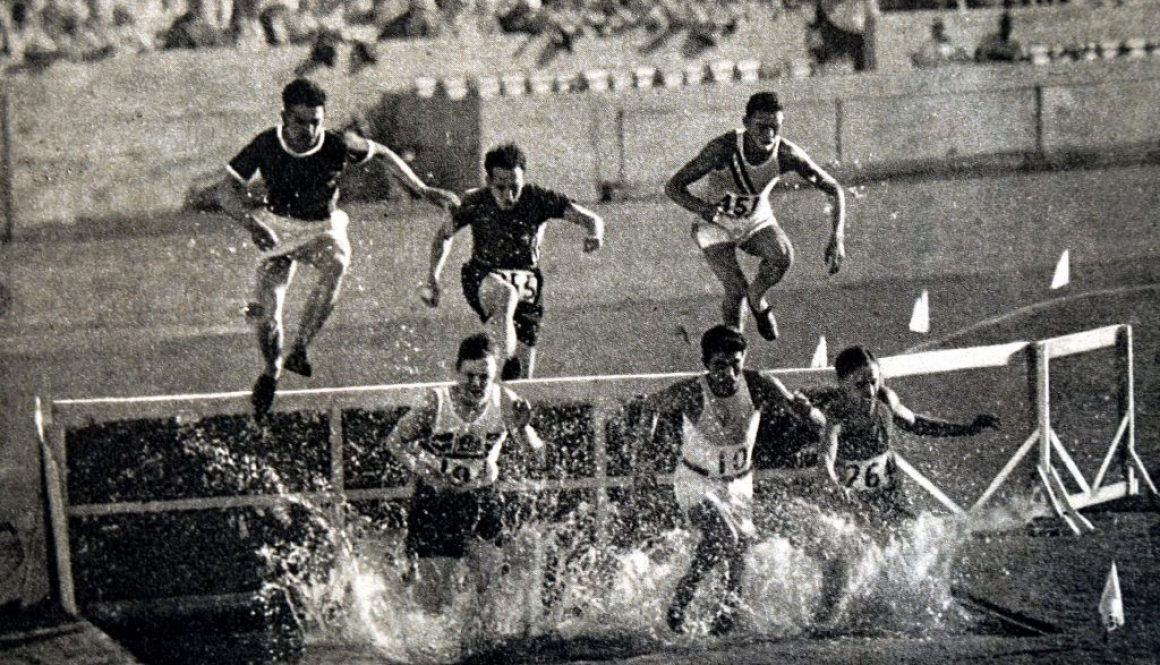 Photograph of the 3000 Meter Steeplechase during the 1932 Olympic games. Won by Volmari Iso-Hollo (1907 - 1969) from Finland. Volmari was one of the last Flying Finns who dominated long distance running. Volmari broke the world record at 09.09.4.. Image s