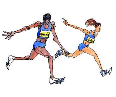 Dalilah Muhammad Sydney McLaughlin 400 meter Hurdles Illustration
