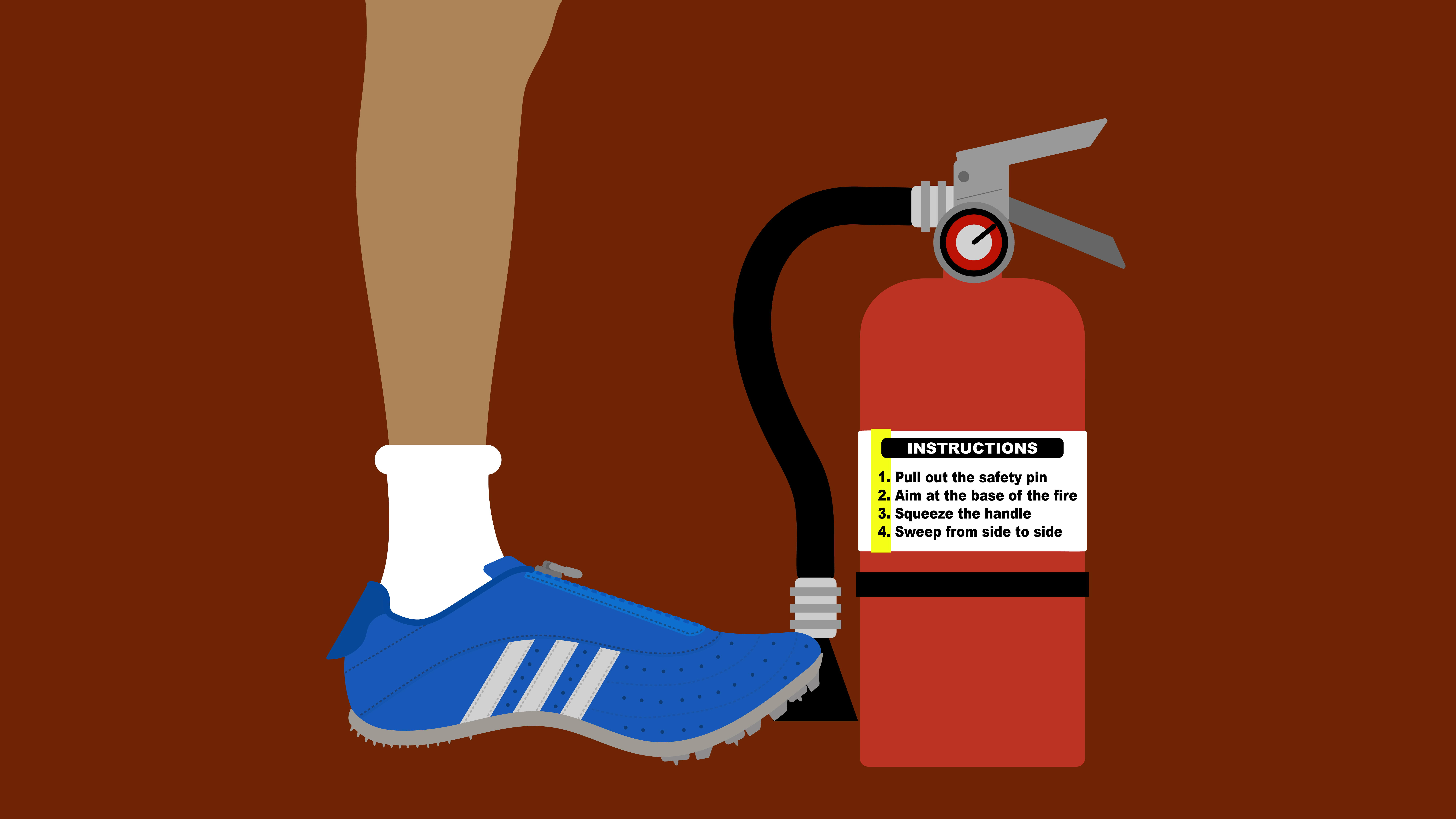 Illustration of Maurice Green's blue adidas spike from 2004 and a fire extinguisher.