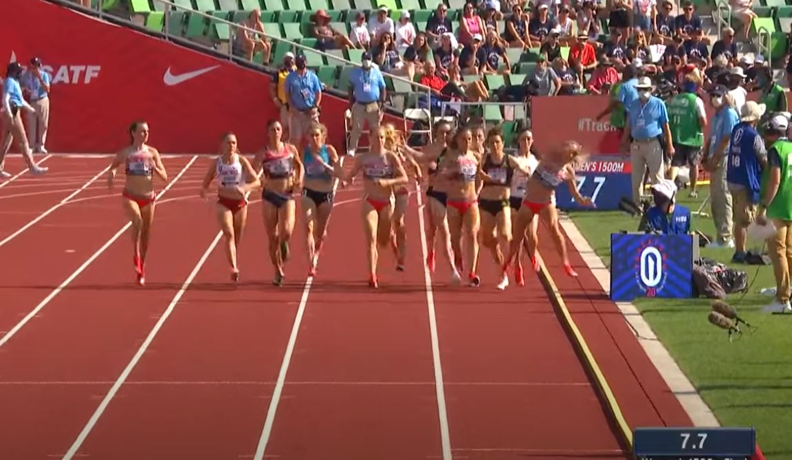 Elle Purrier St. Pierre is bumped at the start of the women's 1500 meters