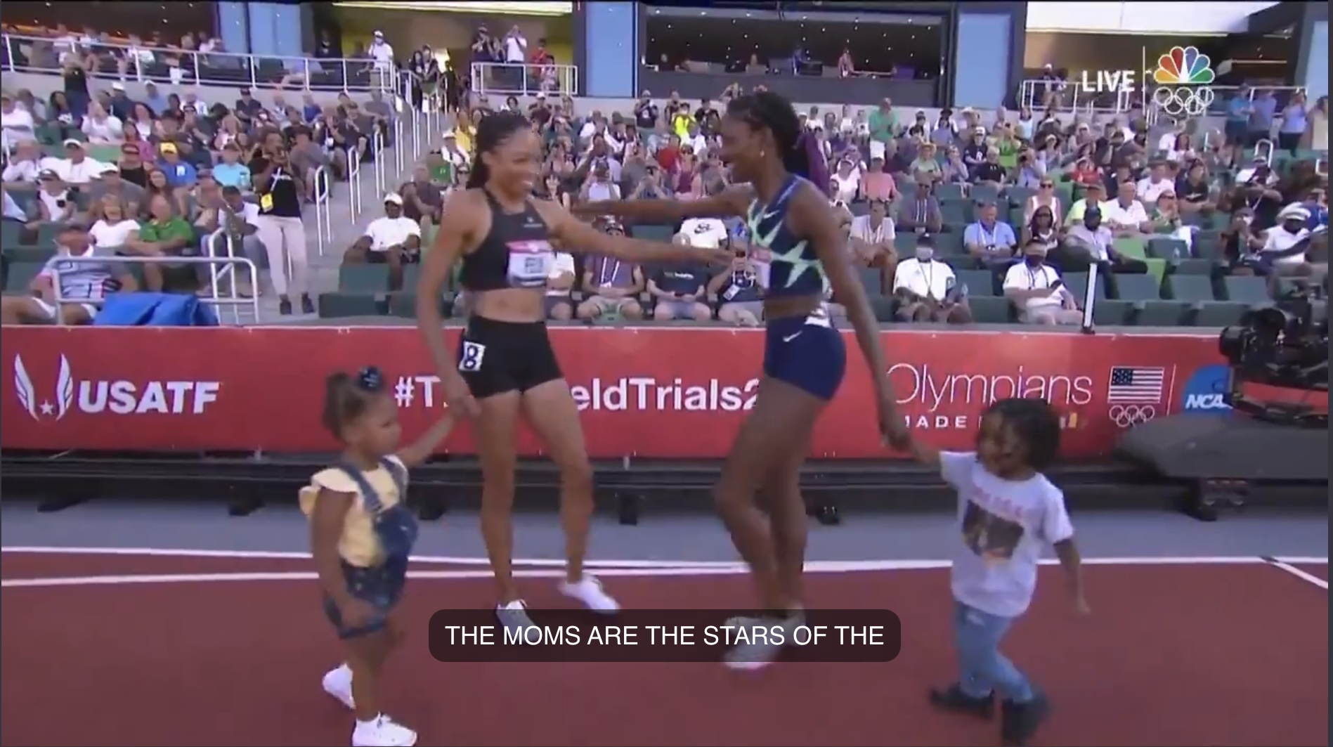 Allyson Felix and Quanera Hayes with their kids after the 400 meters at the 2021 Olympic Trials