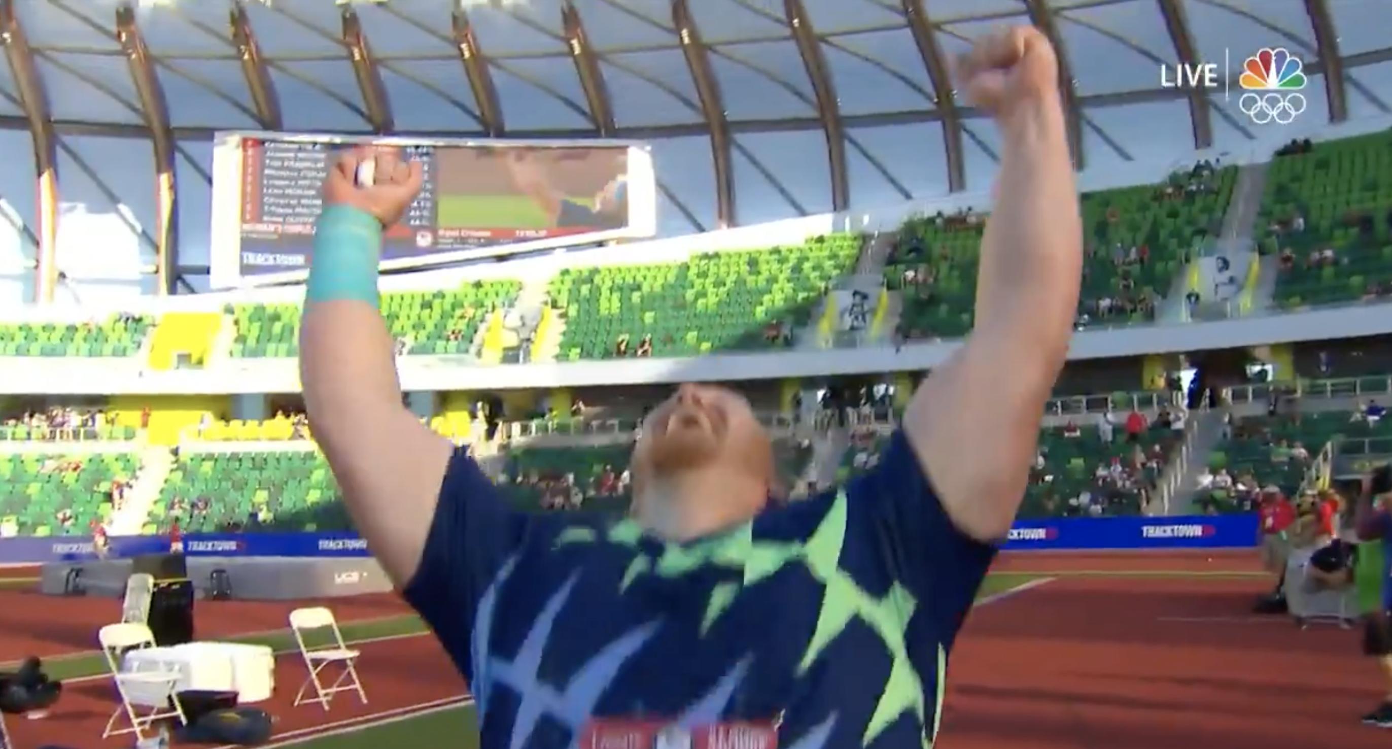 Ryan Crouser celebrates Shot Put World Record